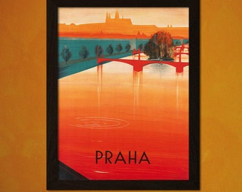 Printed on textured bamboo Art paper - Prague Travel Poster 1937 Vintage Poster Retro   Travel  Prague Poster Czech Print  bp