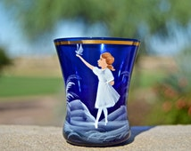 Mary Gregory Painted Cobalt Blue Tumbler / Toothpick Holder - Girl with Dove