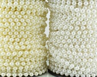 6mm Plastic Pearl Roll 30 Yards White/Creamy Wedding Pearl Beads on a Spool, Roll, Acrylic Beaded Garland Strand