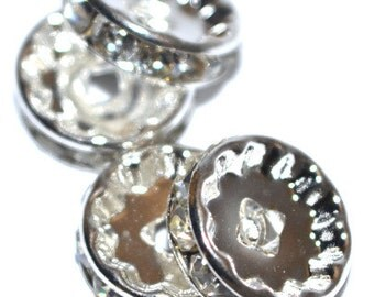 12mm Silver Plated Sparkly Shimmer Rhinestone Spacers