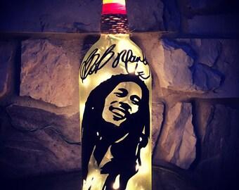 Bob Marley wine bottle light