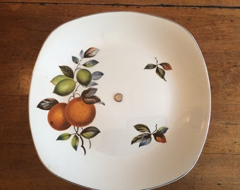 Cake stand -cake plate - 1960s plate - midwinter style craft - oranges and lemons - John Russell - Kitsch cake plate - fashion shape