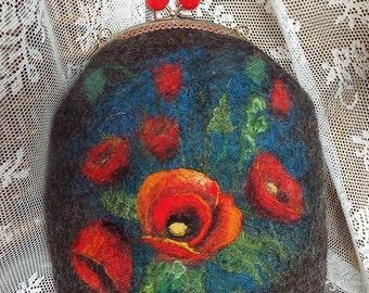 "Felted wool bag-Felted wool purse-Felt bag-Felted purse-Felt handbag-OOAK bag ""Poppies on a dark background"""