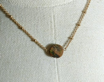 New Planet - Natural Jasper Necklace - Layering Necklace *Reduced price*