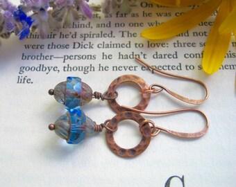 Czech glass earrings, boho style earrings, sapphire blue earrings, blue and copper earrings, dangle earrings, boho chic, bohemian jewelry