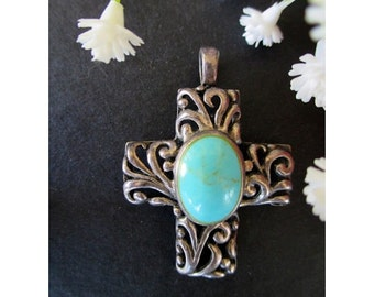CROSS PENDANT  * Filigree With Faux Turquoise Cabochon Stone