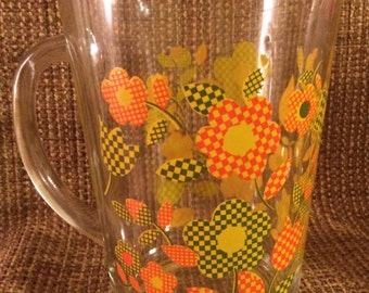 PRICE REDUCED* Vintage Glass Pitcher Checked Flowers Orange Green Yellow