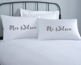Mr & Mrs Personalised Pillowcase set - 2 pillow covers - home wedding gift - engagement gift - anniversary gift - couple pillowcase - custom