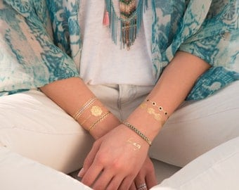 Aura Metallic Temporary Tattoo Collection by Jewelry Tattoo lab Designed in Paris. Short-lived tattoo