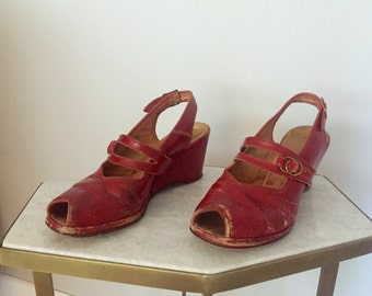 1940's Red Vintage Slingback Wedge Open Toe Peep Toe Shoes Heels