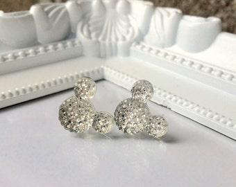 Mickey Mouse Rhinestone Earrings, Minnie Mouse Earrings, Disney Earrings, Disney Vacation Earrings, Rhinestone Stud Earrings, White, Silver