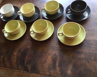 Russel Wright Designed Coffee Cup service with original Saucers - Mix & Match Colors