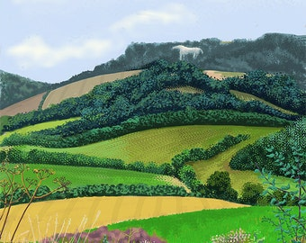 White Horse, Kilburn, Limited Edition Giclée Print from an original ipad drawing