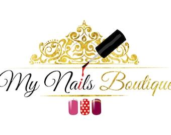 Nail polish logo etsy premade beauty nails logo custom logo design nails logo beauty elegant feminine logo prinsesfo Choice Image