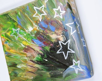 Stars in colorful - acrylic on canvas - original mini artwork 10 x 10 cm
