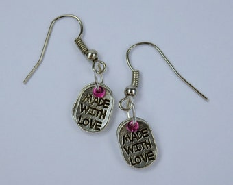 Made with love earrings - Silver earrings with Pink Pearl