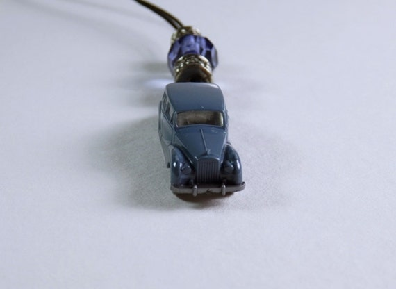 Necklace Sweet Vintage Classic car with blue and silver beads on black leather strap unique Jewelry Classic Car
