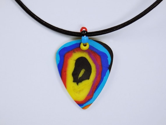 Necklace Psychedelic pick-on black leather strap with colorful beads for modern hippies and freaky guitarists jewelry colorful
