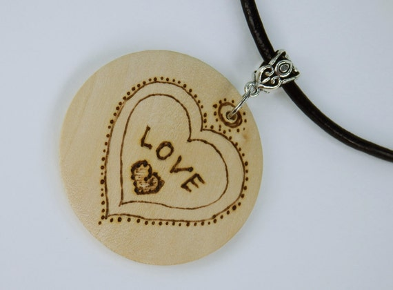 Necklace love love made of light wood on black leather strap-unique wood Oktoberfest brand painting heart Valentine's Birthday jewelry