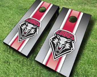 Officially Licensed New Mexico Lobos Striped Cornhole Set with Bags - Bean Bag Toss - New Mexico Cornhole - Corn Toss - Corn hole