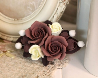 Floral barrette, handmade Flowers jewelry, polymer Clay hair accessories, barrette, flower barrette, polymer clay flowers, coffee roses