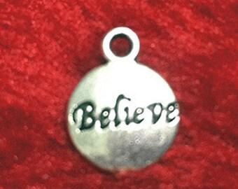 20pcs Antique Silver Round Believe Tag Charm Pendants 12mm WAB508-2