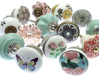Mixed Set of 14 Hand Painted Shabby Chic Ceramic and Glass Cupboard Drawer Knobs (MG-265)