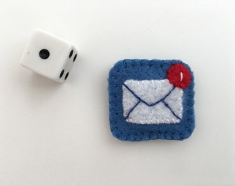 Mail Fiber Art Pin or Magnet