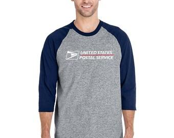 USPS POSTAL Grey/Navy Blue 3/4 Sleeve Raglan T-SHIRT 2 color postal logo on chest