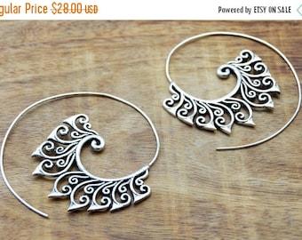 Floral Earrings, Spiral Tribal Earrings, Silver Earrings, Large Hoop Earrings, Gypsy Earrings, Tribal Jewelry, Large Hoops, Indian Earrings