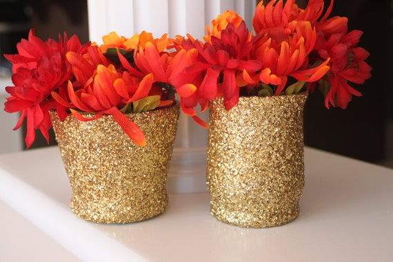 Gold vase glitter centerpiece sparkle party