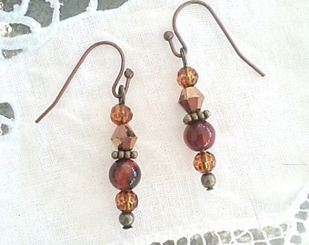 Swarovski Crystal earrings, brown earrings, stone earrings, bronze earrings