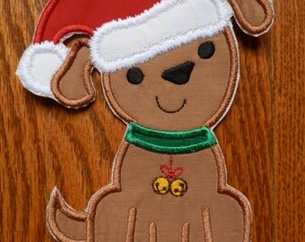 Iron On Applique Christmas Dog