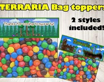 TERRARIA BAG TOPPERS. Terraria party label.Terraria printable.Terraria birthday .Terraria topper.Terraria decoration. Terraria game