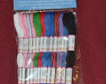 12 pcs embroidery thread /skeins  pack a