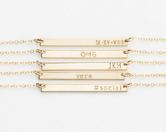 Small Skinny Bar Necklace, Personalized 14k Gold Filled, Sterling Silver, or Rose Gold Filled Sleek Bar / GLDN Dainty Bar Necklace, GETTY