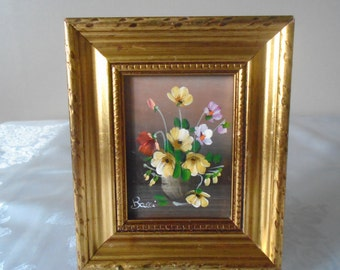 miniature oil on board in gold painted wooden frame signed bacci