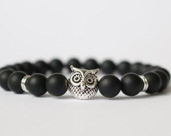 OWL Bracelet UHU  Gemstone Owl onyx bracelet Bracelet Silver Buddha Onyx matt pearl ovo