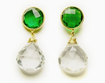 Green Onyx and Rock Crystal Earrings