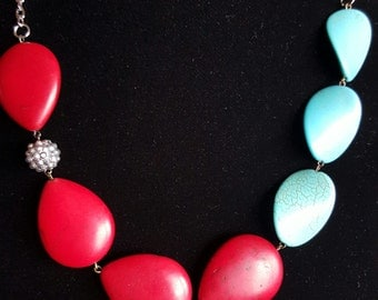 statement necklace in turquoise and red