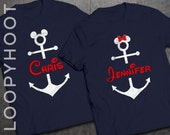 Personalized Disney Cruise Family Vacation Mickey or Minnie Anchor T-shirt in NAVY BLUE