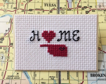 Oklahoma Magnet, Home Magnet, State Pride Magnet, OU Sooners, University of Oklahoma, Gift for Graduate, Cross Stitch Art, Locker Decor