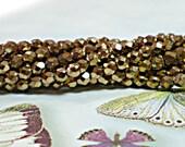 BRONZE, 3mm Czech Fire Polished Glass Beads, 50 Pcs