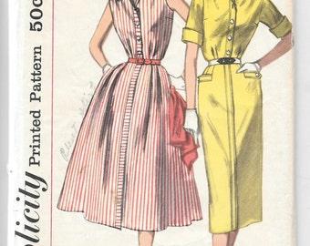 Vintage 1950s Pencil Shirtwaist Dress Size 14 1/2 Bust 35 Simplicity Sewing Pattern 2043
