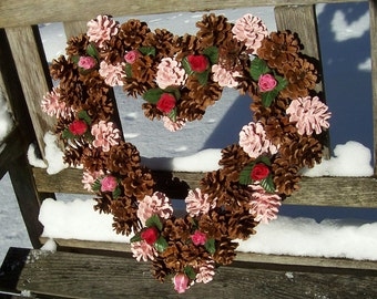 Valentine Pine Cone Heart with Silk Roses.  <3