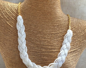 Braided white necklace, bridesmaids necklace, white necklace, white pearl necklace, bridesmaids necklace, white pearl bib, pearly white bib