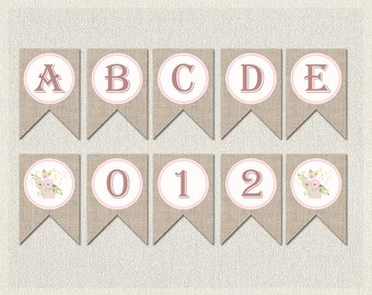 WHOLE ALPHABET Banner Burlap Shabby Chic Baby Shower Banner Bunting  | Printable Floral Complete Alphabet Baby Shower Girl BS-159