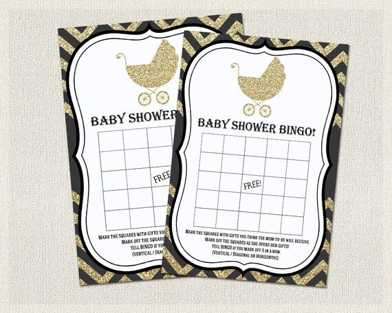 gold baby shower bingo black and gold activity gender neutral instant