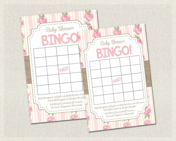 Baby shower bingo shabby chic floral burlap pink roses baby bingo il570xn pin it solutioingenieria Choice Image