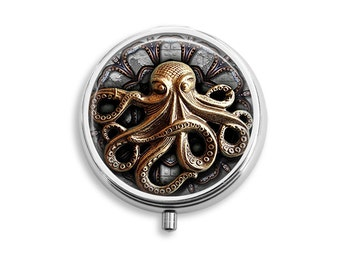 Steampunk Octopus Pill Box, Pill Case, Pill Container, Mints Case, Jewelry Box, Trinkets Box (P001)